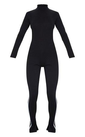 Black Sports Stripe High Neck Jumpsuit   PrettyLittleThing