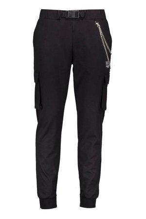 MAN Twill Chain Detail Cargo Trouser | Boohoo