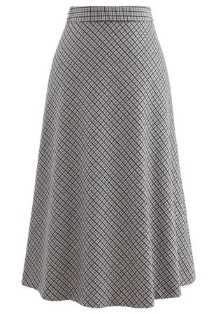 Grid Houndstooth Flare A-Line Midi Skirt - Retro, Indie and Unique Fashion