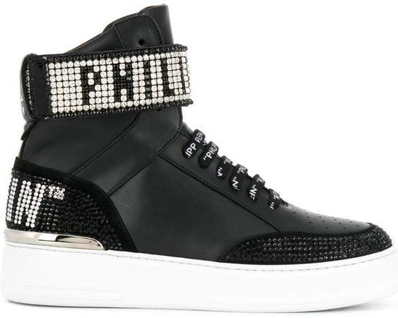 hi-top crystal sneakers