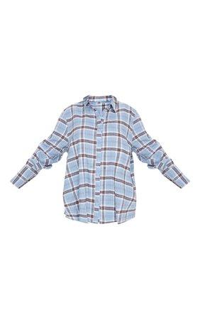 Light Blue Oversized Check Shirt | Tops | PrettyLittleThing