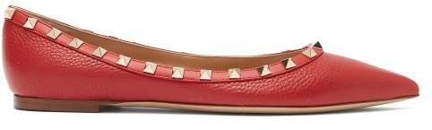 Rockstud Grained Leather Flats - Womens - Red