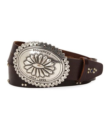 Dsquared2 Studded Leather Belt with Western Buckle