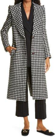 Herringbone Peaked Lapel Coat
