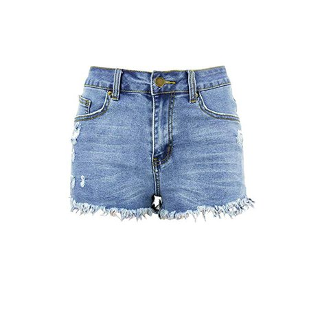 WOCACHI Jeans Shorts for Womens, Mid Rise Frayed Raw Hem Ripped Denim Shorts