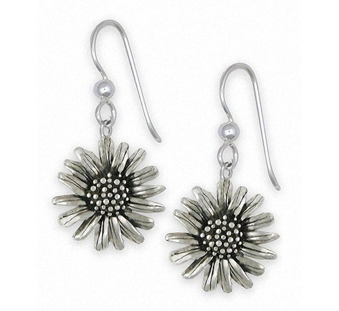 Silver Daisy Flower Earrings