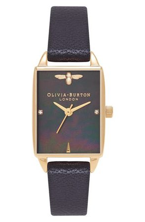 Olivia Burton Beehive Leather Strap Watch, 20mm | Nordstrom