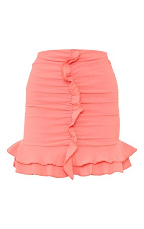Coral Woven Frill Stretch Ruched Front Mini Skirt | PrettyLittleThing USA