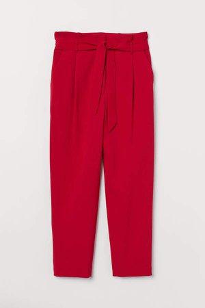 Paper-bag Pants - Red