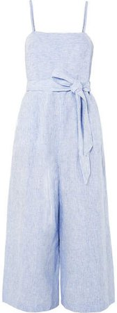 Marseille Belted Striped Linen Jumpsuit - Blue