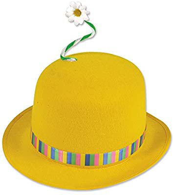 Clown Bowler Hat Yellow with Flower