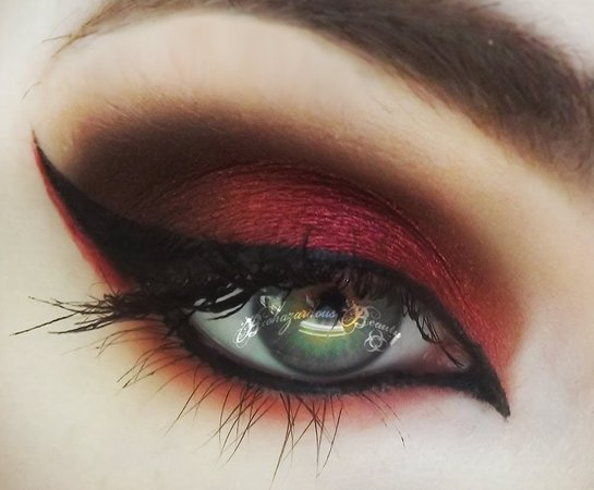 smokey red and black eyeshadow