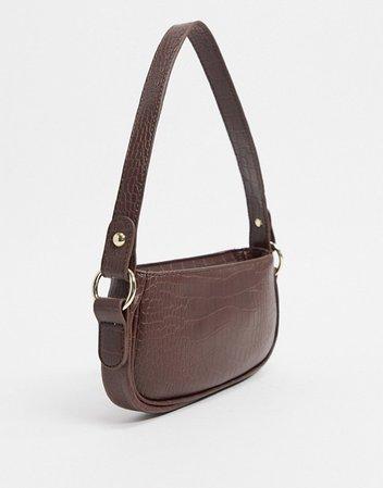 ASOS DESIGN croc effect 90s shoulder bag in chocolate | ASOS