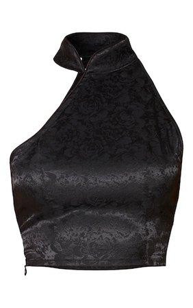 Black Satin Print Crop Top | PrettyLittleThing USA