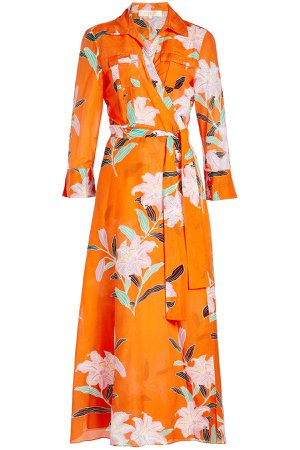 Printed Shirt Dress in Cotton and Silk Gr. M