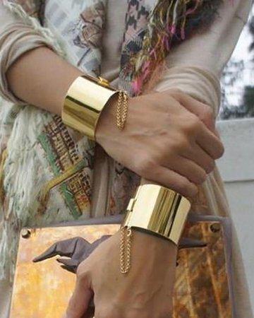 Punk Style High Polished Wide Cuff Bangle Bracelet