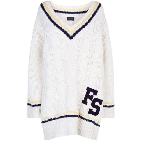 Fenty Puma V Neck Cable Knit Sweater in Vanilla Ice