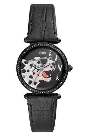 Fossil Lyric Crystal Bezel Leather Strap Watch, 32mm