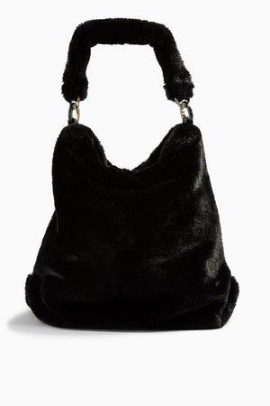 FERN Black Faux Fur Hobo Bag | Topshop