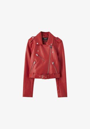 PULL & BEAR Куртка из искусственной кожи - красный металлик - Zalando.de