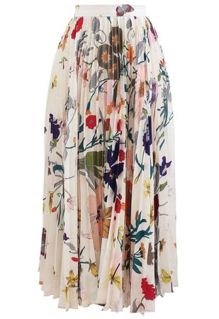 Tropical Floral Print Pleated Midi Skirt - Retro, Indie and Unique Fashion