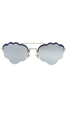 Miu Miu Cloud Oval in Silver & Blue Mirror
