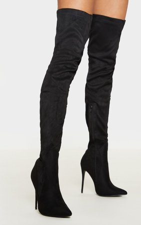 Emmi Black Thigh High Heeled Boots   Shoes   PrettyLittleThing USA