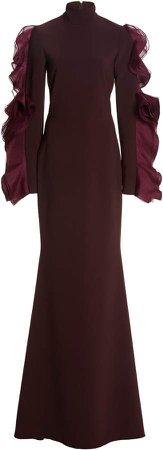 Christian Siriano Mock Neck Flounce Sleeve Gown