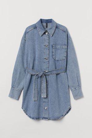 Cotton Shirt Dress - Light denim blue - Ladies | H&M US