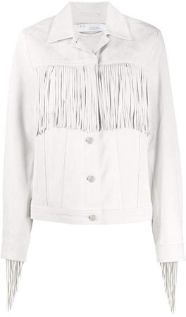 button down fringed-detail jacket
