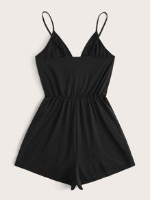 Surplice Neck Solid Cami Romper | SHEIN UK