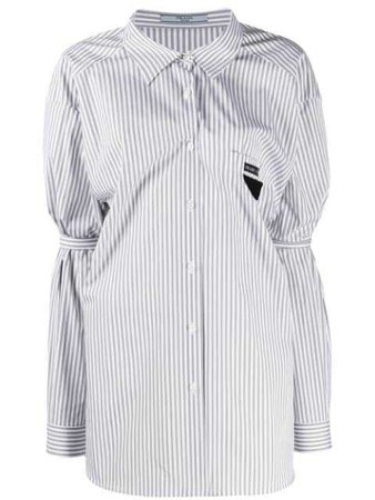 PRADA ruched stripe shirt