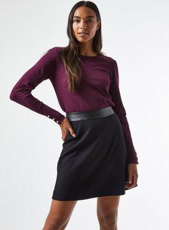 Black PU Trim Mini Skirt