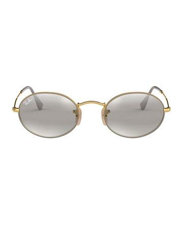Ray-Ban Mirrored Oval Metal Sunglasses