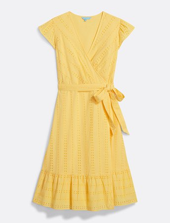 Striped Eyelet Flutter Sleeve Wrap Dress