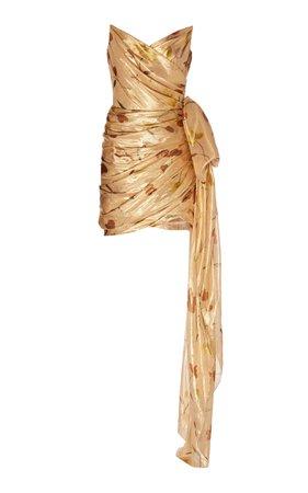 Oscar de la Renta Embroidered Taffeta Mini Dress