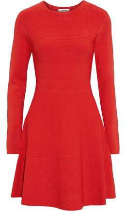 Flared Pointelle-knit Mini Dress