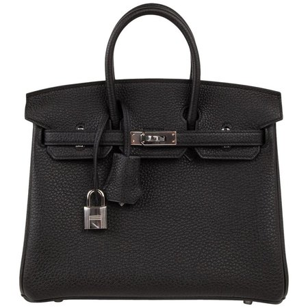 Hermes Birkin 25 Bag Black Togo Palladium Hardware