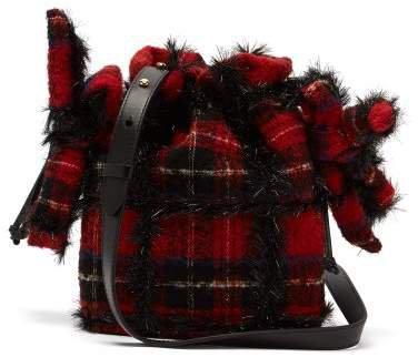 Lurex Wool Tartan Shoulder Bag - Womens - Black Red