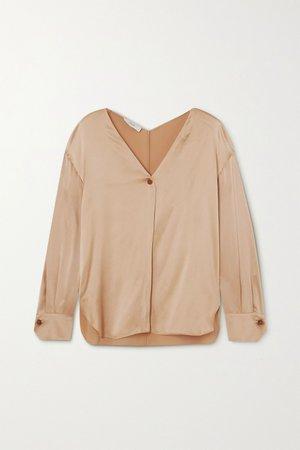 Beige Silk-satin blouse | Vince | NET-A-PORTER