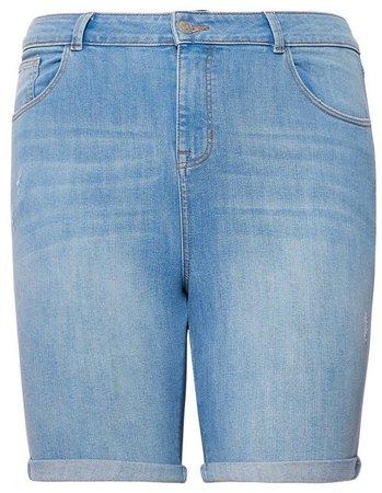 **DP Curve Blue Light-Wash Denim Shorts