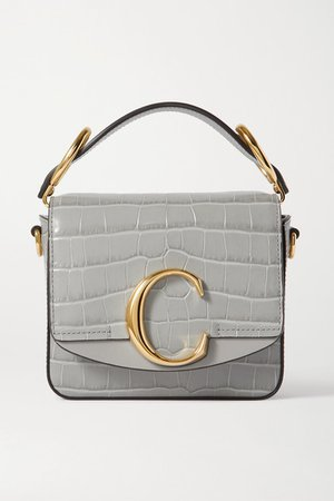 C Mini Smooth And Croc-effect Leather Tote - Gray