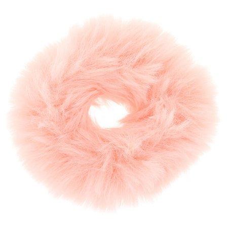 Faux Fur Hair Scrunchie - Blush   Claire's US