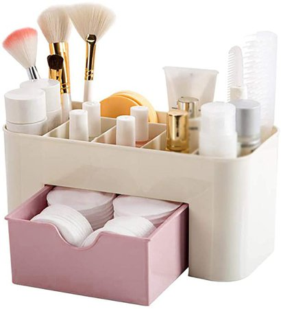 Amazon.com: Plastic Desktop Cosmetic Box with Small Drawer Multifunctional Desk Storage Box Pink, Home Decor Wall/Farmhouse/Living Room/Kitchen/Bedroom/Bathroom, Under 10 Dollars: Home & Kitchen