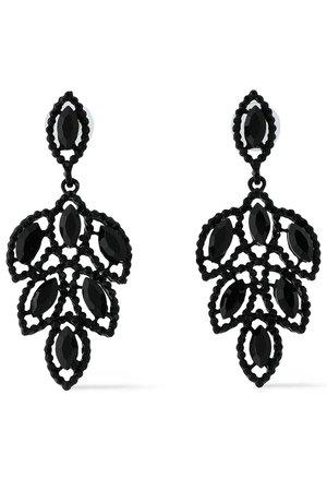 Black Crystal enamel earrings | KENNETH JAY LANE |