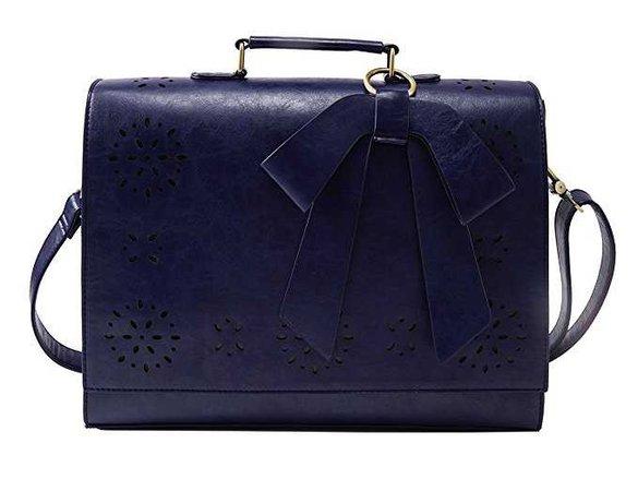"""Amazon.com: ECOSUSI Ladies PU Leather Laptop Bag Briefcase Crossbody Messenger Bags Satchel Purse Fit 14"""" Laptop, Blue: Computers & Accessories"""