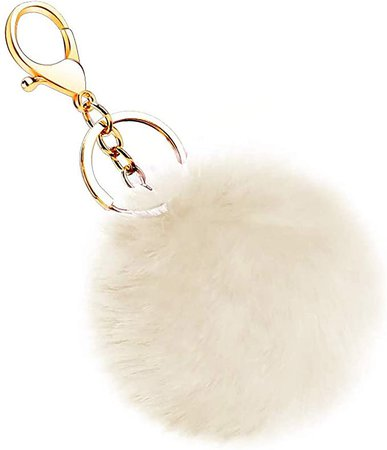 Rabbit Fur Ball Pom Pom Keychain - Fluffy Ball Key Chain Bag Accessory Puffball Keyring Backpack Charms for Girls Women (Beige) at Amazon Men's Clothing store