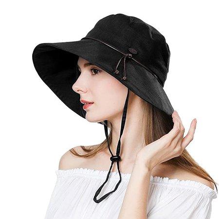 Summer Hat for Women Wide Brim Sun Protection Foldable Beach Safari Hat UPF XL Big Black Hat at Amazon Women's Clothing store