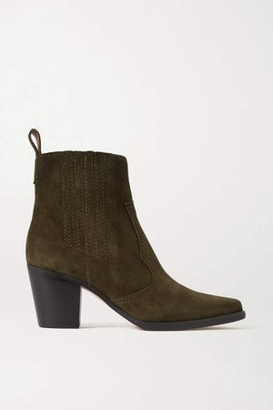 Callie Suede Ankle Boots - Army green