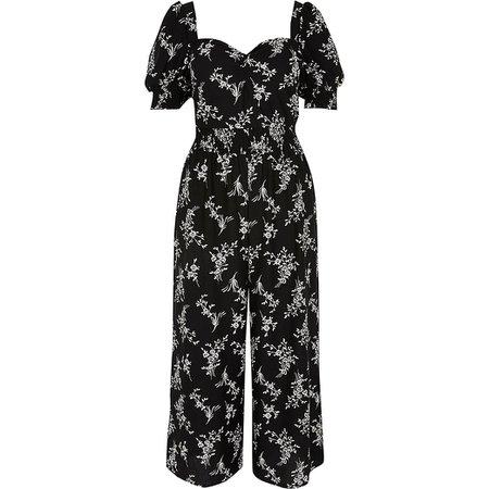 Black floral shirred waist jumpsuit | River Island